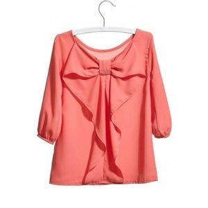 ⭐️ Bow Back Woven Blouse Top